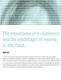 The importance of e-commerce and the advantages of moving to the cloud.